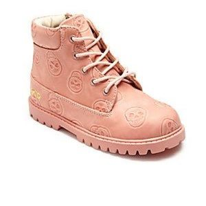 Akid Emboss Skull Rose Pink Boots Size 5Y Women 6